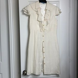 Cream/Pearl color dress with gold & pearl buttons